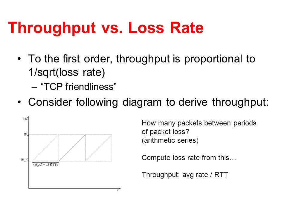 Throughput vs. Loss Rate To the first order, throughput is proportional to 1/sqrt(loss rate) –TCP friendliness Consider following diagram to derive th