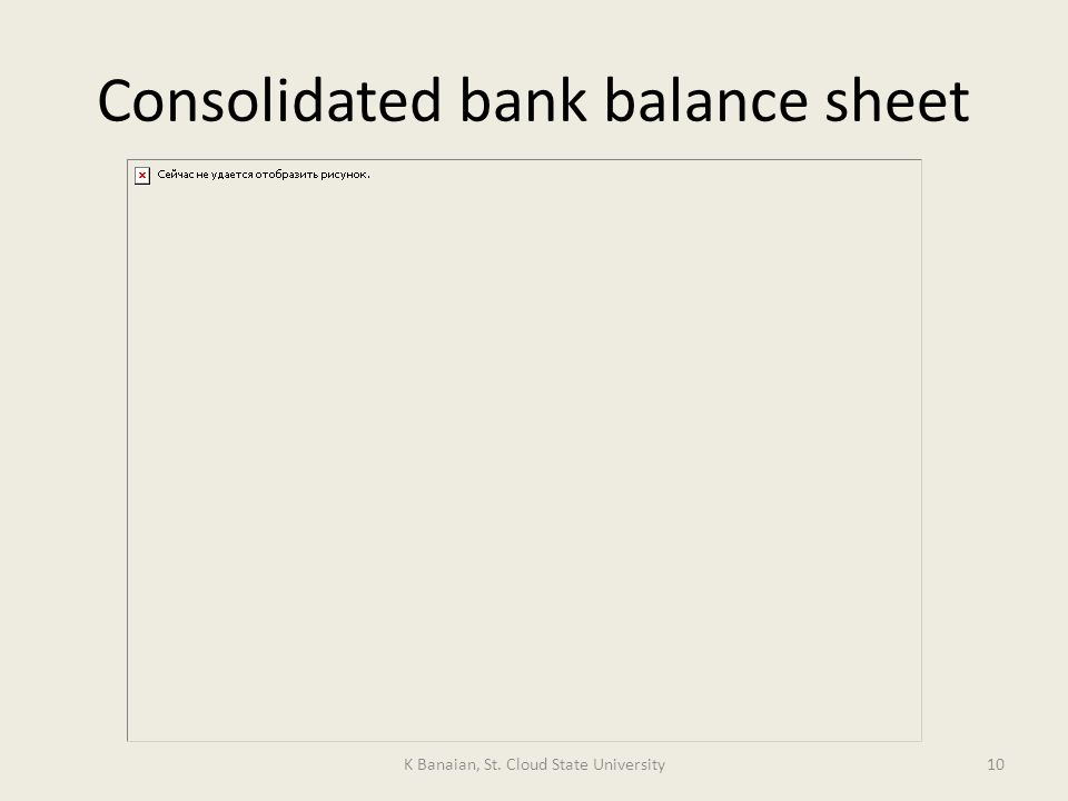 Consolidated bank balance sheet K Banaian, St. Cloud State University10