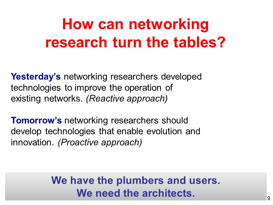 How can networking research turn the tables? Yesterdays networking researchers developed technologies to improve the operation of existing networks. (