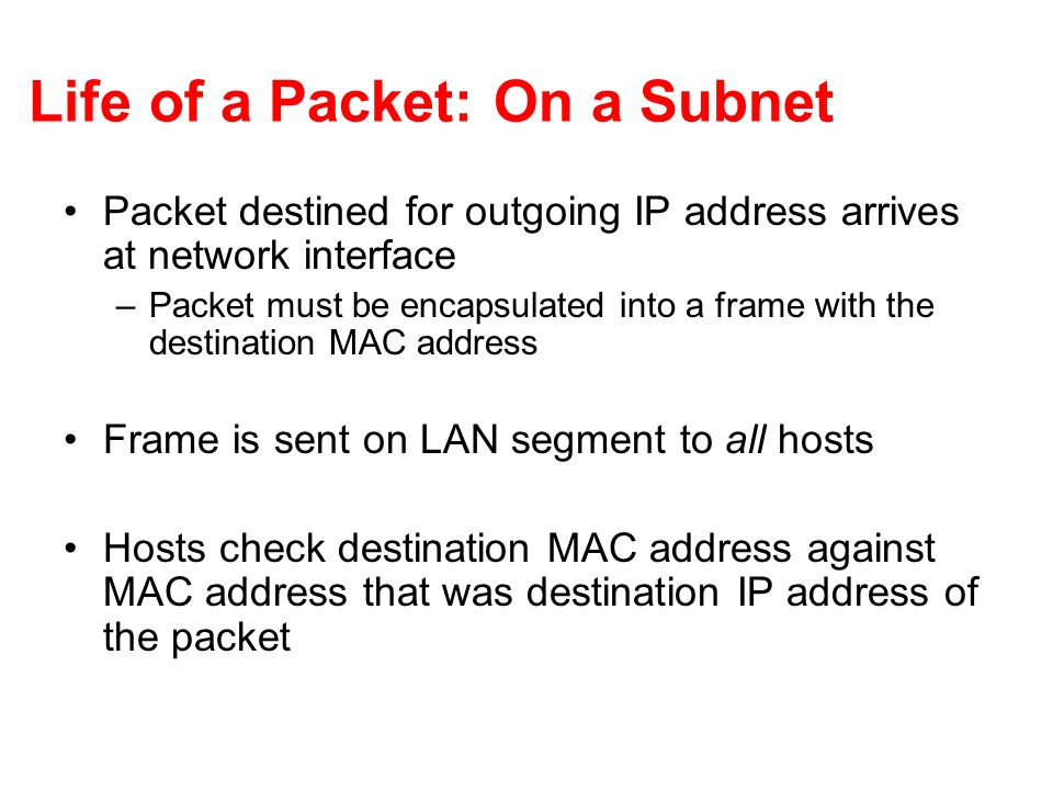 Life of a Packet: On a Subnet Packet destined for outgoing IP address arrives at network interface –Packet must be encapsulated into a frame with the