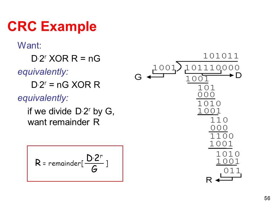 56 CRC Example Want: D. 2 r XOR R = nG equivalently: D. 2 r = nG XOR R equivalently: if we divide D. 2 r by G, want remainder R R = remainder[ ] D.2rG