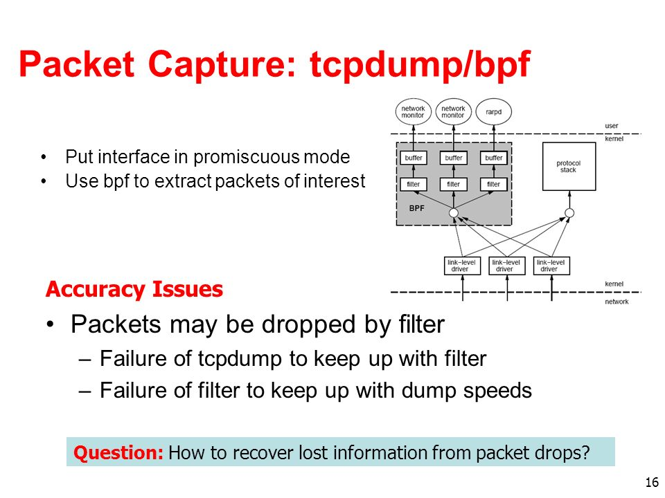 16 Packet Capture: tcpdump/bpf Put interface in promiscuous mode Use bpf to extract packets of interest Packets may be dropped by filter –Failure of tcpdump to keep up with filter –Failure of filter to keep up with dump speeds Question: How to recover lost information from packet drops.