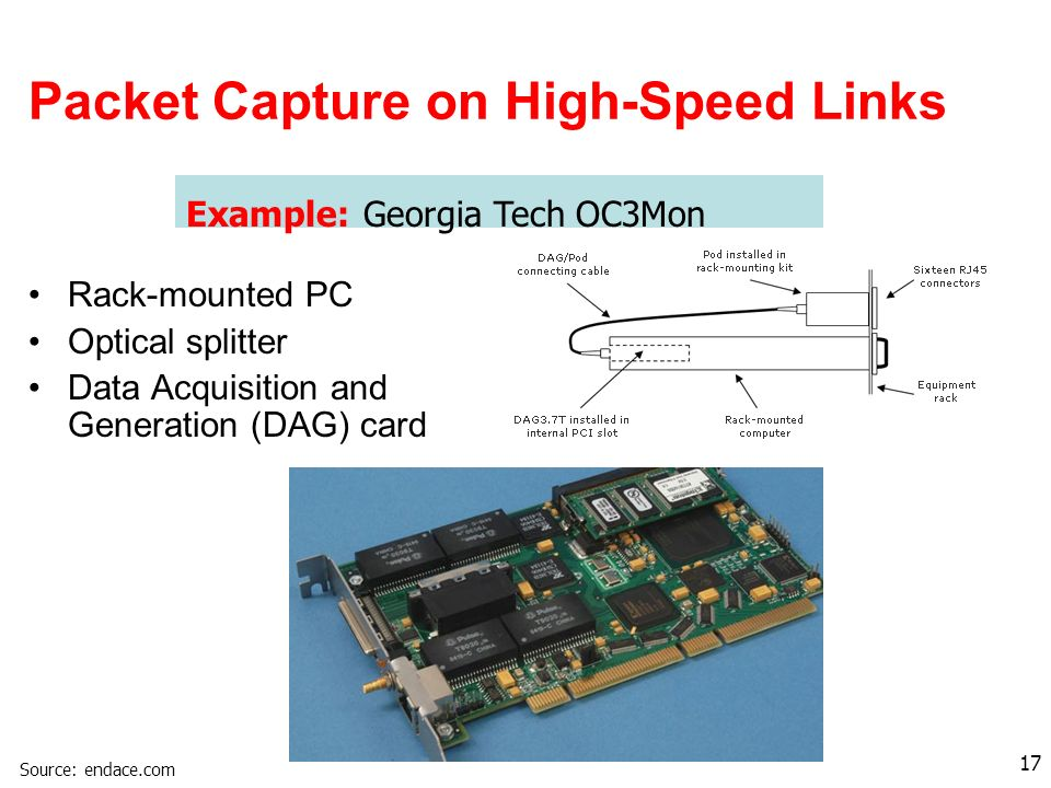 17 Packet Capture on High-Speed Links Example: Georgia Tech OC3Mon Rack-mounted PC Optical splitter Data Acquisition and Generation (DAG) card Source: