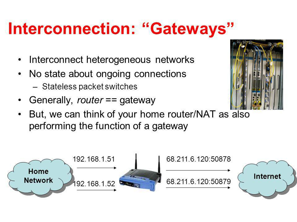 Interconnection: Gateways Interconnect heterogeneous networks No state about ongoing connections –Stateless packet switches Generally, router == gateway But, we can think of your home router/NAT as also performing the function of a gateway Home Network Internet 192.168.1.51 192.168.1.52 68.211.6.120:50878 68.211.6.120:50879