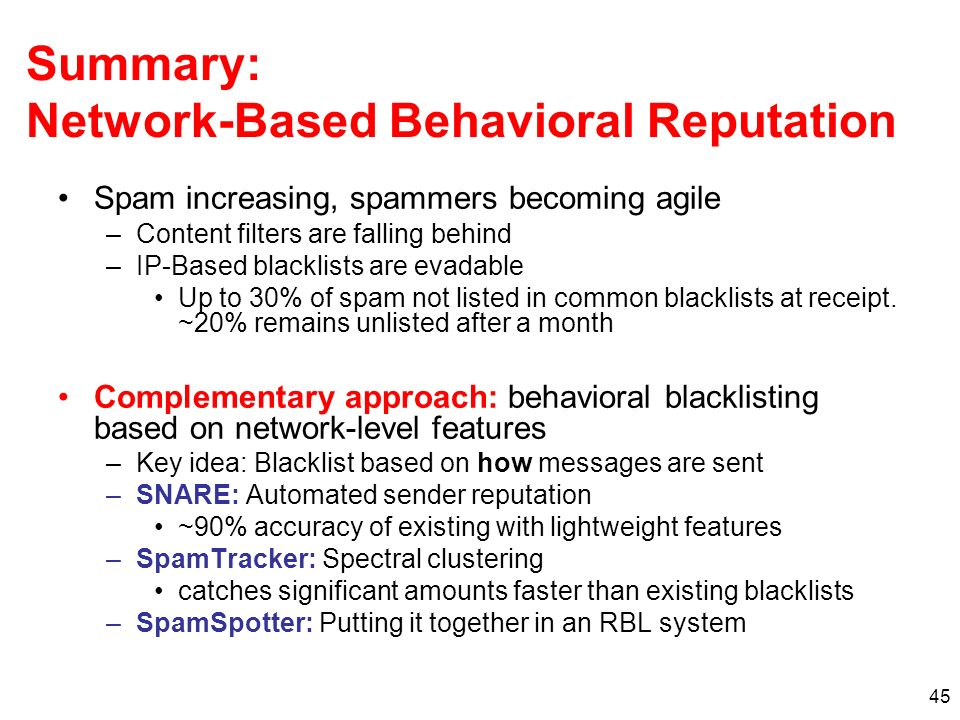 45 Summary: Network-Based Behavioral Reputation Spam increasing, spammers becoming agile –Content filters are falling behind –IP-Based blacklists are