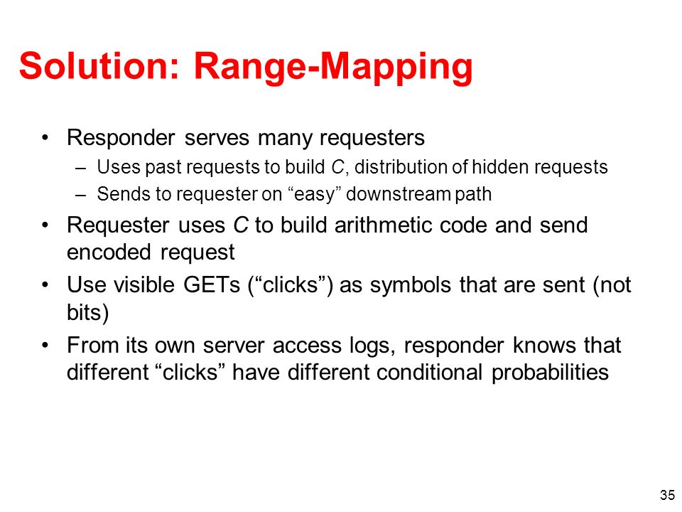 35 Solution: Range-Mapping Responder serves many requesters –Uses past requests to build C, distribution of hidden requests –Sends to requester on easy downstream path Requester uses C to build arithmetic code and send encoded request Use visible GETs (clicks) as symbols that are sent (not bits) From its own server access logs, responder knows that different clicks have different conditional probabilities