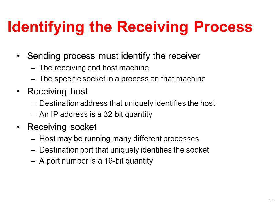 11 Identifying the Receiving Process Sending process must identify the receiver –The receiving end host machine –The specific socket in a process on that machine Receiving host –Destination address that uniquely identifies the host –An IP address is a 32-bit quantity Receiving socket –Host may be running many different processes –Destination port that uniquely identifies the socket –A port number is a 16-bit quantity