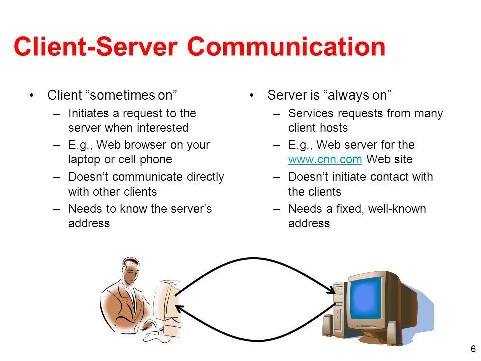7 Peer-to-Peer Communication No always-on server at the center of it all –Hosts can come and go, and change addresses –Hosts may have a different address each time Example: peer-to-peer file sharing –Any host can request files, send files, query to find a files location, respond to queries, … –Scalability by harnessing millions of peers –Each peer acting as both a client and server