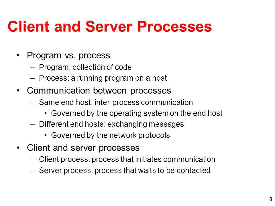 8 Client and Server Processes Program vs.