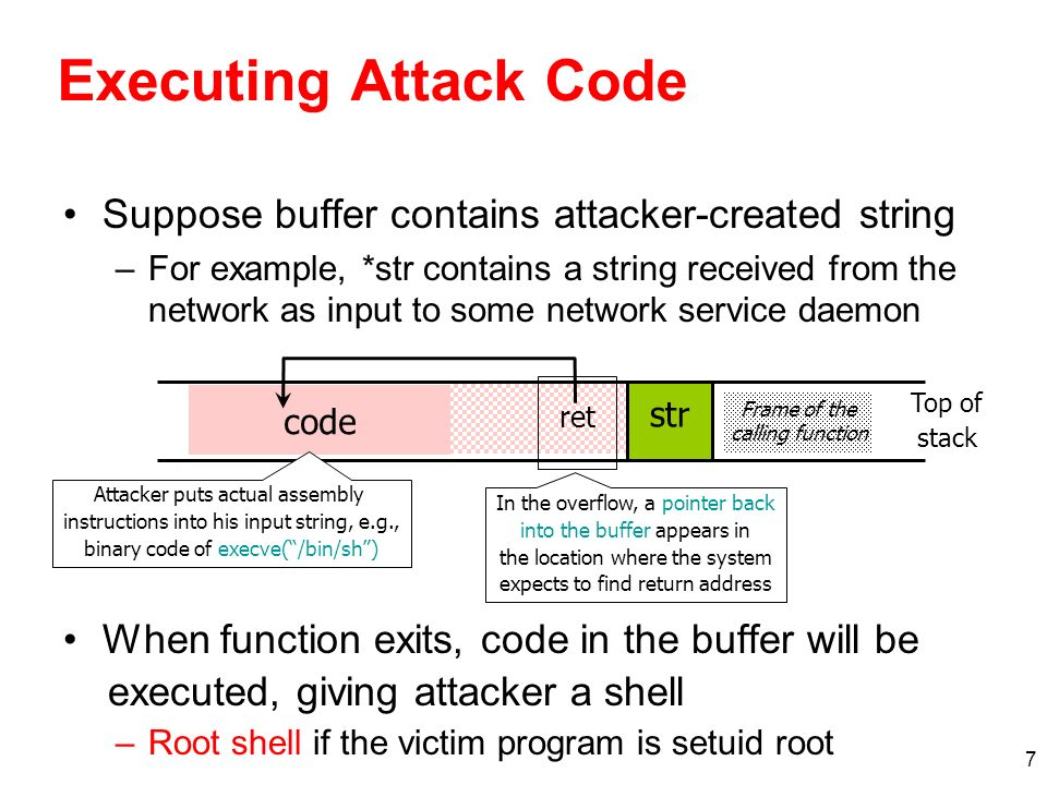 18 More Buffer Overflow Targets Heap management structures used by malloc() URL validation and canonicalization –If Web server stores URL in a buffer with overflow, then attacker can gain control by supplying malformed URL Nimda worm propagated itself by utilizing buffer overflow in Microsofts Internet Information Server Some attacks dont even need overflow –Naïve security checks may miss URLs that give attacker access to forbidden files For example, http://victim.com/user/../../autoexec.bat may pass naïve check, but give access to system file Defeat checking for / in URL by using hex representation