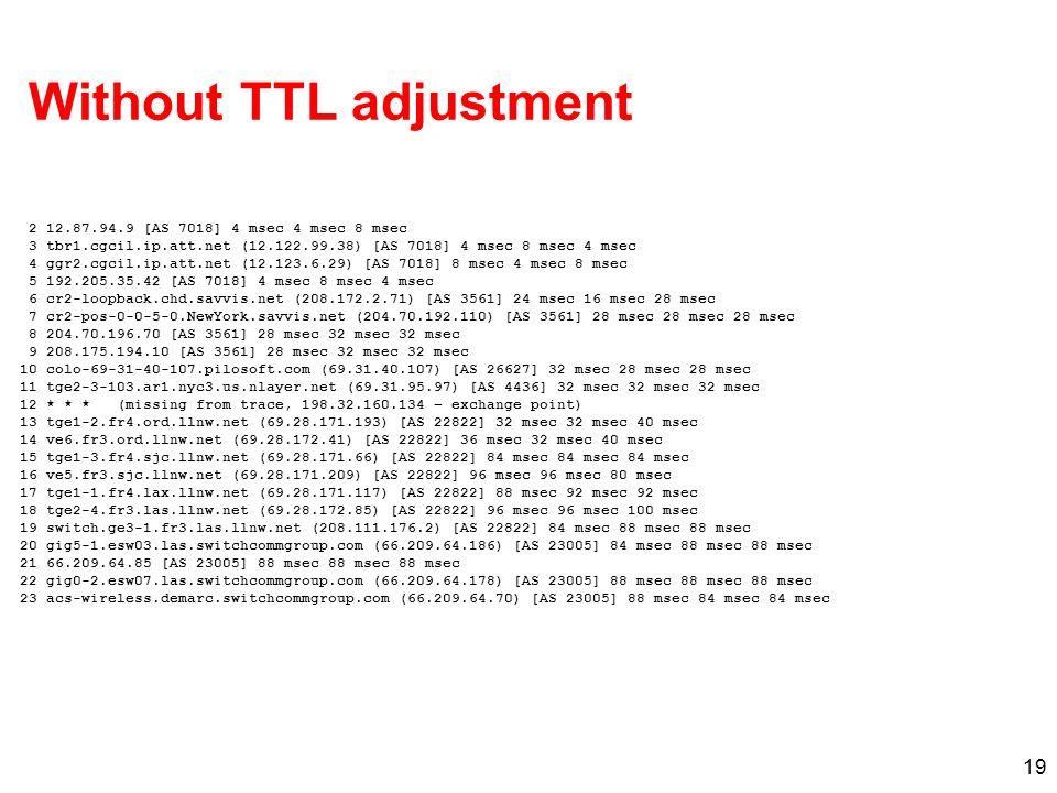 19 Without TTL adjustment 2 12.87.94.9 [AS 7018] 4 msec 4 msec 8 msec 3 tbr1.cgcil.ip.att.net (12.122.99.38) [AS 7018] 4 msec 8 msec 4 msec 4 ggr2.cgc