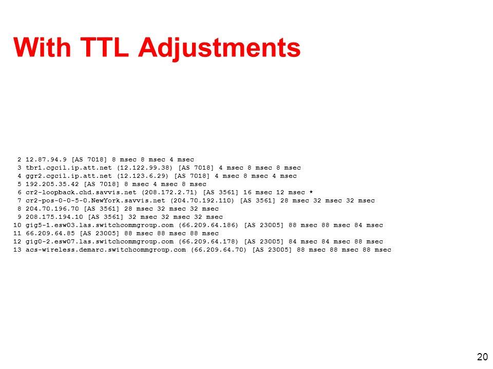 20 With TTL Adjustments 2 12.87.94.9 [AS 7018] 8 msec 8 msec 4 msec 3 tbr1.cgcil.ip.att.net (12.122.99.38) [AS 7018] 4 msec 8 msec 8 msec 4 ggr2.cgcil