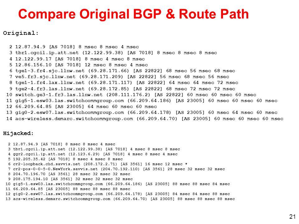 21 Compare Original BGP & Route Path Hijacked: 2 12.87.94.9 [AS 7018] 8 msec 8 msec 4 msec 3 tbr1.cgcil.ip.att.net (12.122.99.38) [AS 7018] 4 msec 8 m
