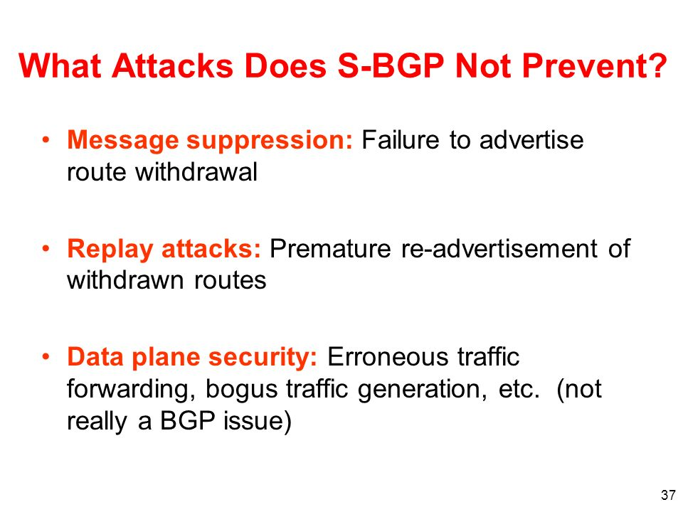 37 Message suppression: Failure to advertise route withdrawal Replay attacks: Premature re-advertisement of withdrawn routes Data plane security: Erro