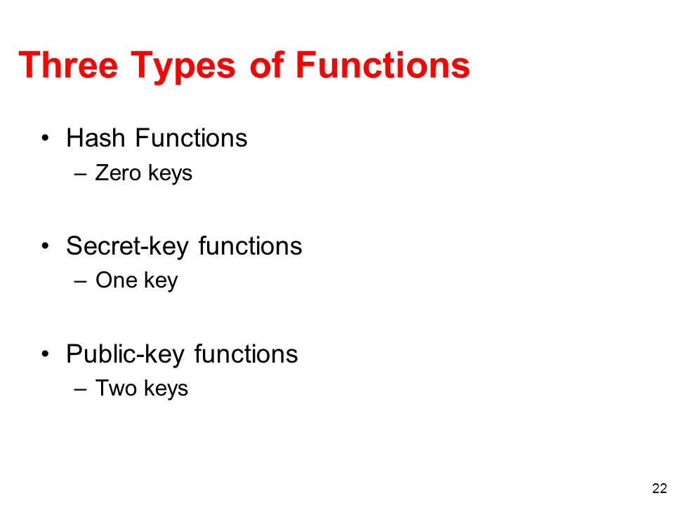 22 Three Types of Functions Hash Functions –Zero keys Secret-key functions –One key Public-key functions –Two keys