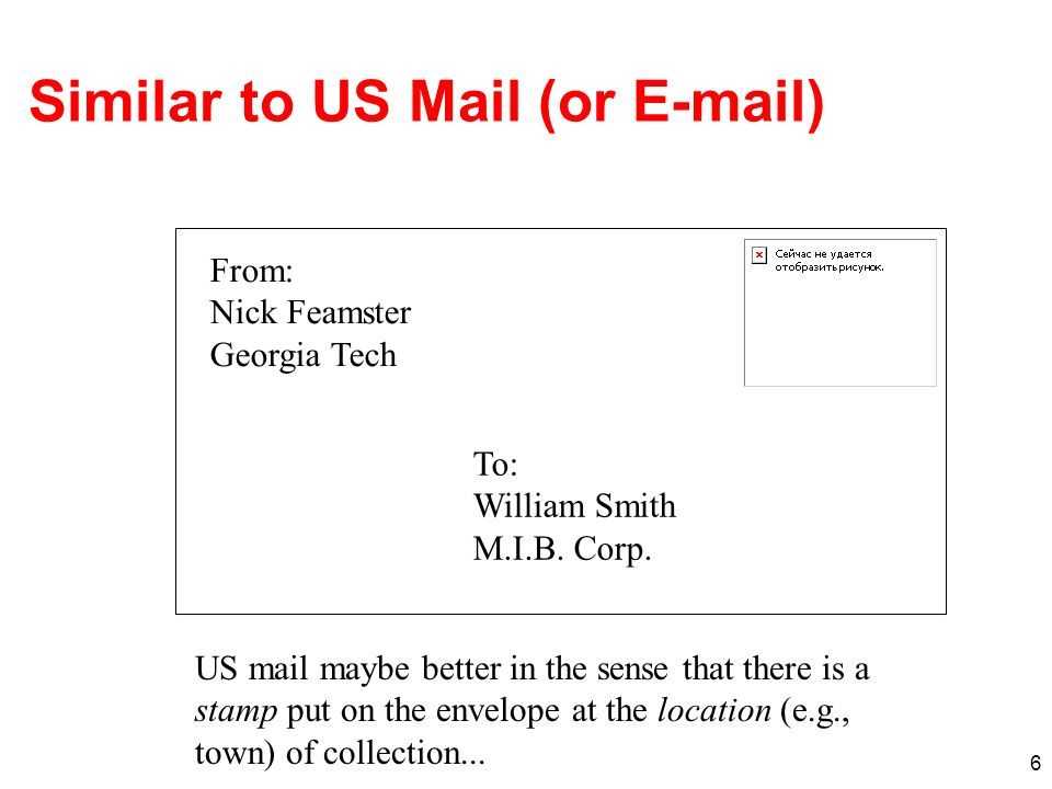 6 Similar to US Mail (or E-mail) From: Nick Feamster Georgia Tech To: William Smith M.I.B. Corp. US mail maybe better in the sense that there is a sta