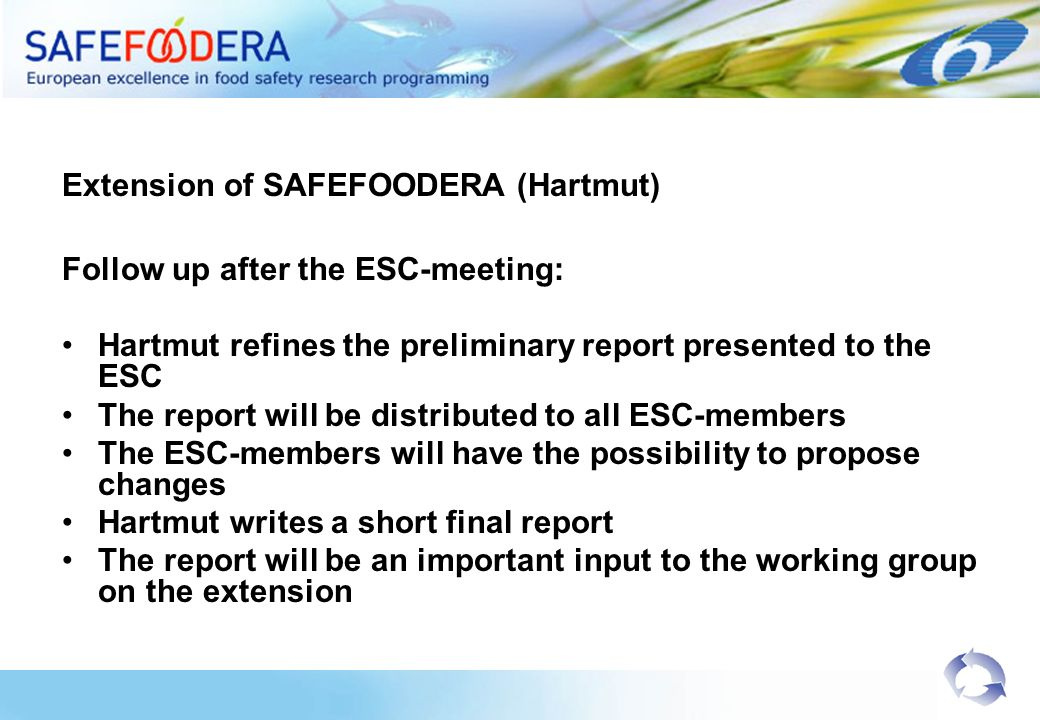 Extension of SAFEFOODERA (Hartmut) Follow up after the ESC-meeting: Hartmut refines the preliminary report presented to the ESC The report will be dis