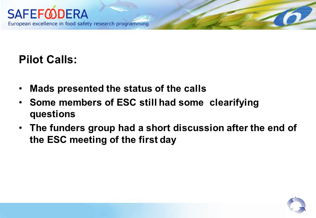Pilot Calls: Mads presented the status of the calls Some members of ESC still had some clearifying questions The funders group had a short discussion after the end of the ESC meeting of the first day