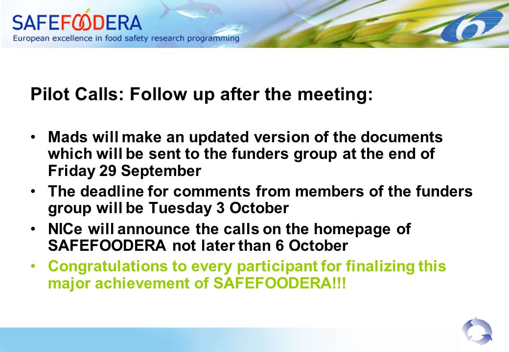 Pilot Calls: Follow up after the meeting: Mads will make an updated version of the documents which will be sent to the funders group at the end of Friday 29 September The deadline for comments from members of the funders group will be Tuesday 3 October NICe will announce the calls on the homepage of SAFEFOODERA not later than 6 October Congratulations to every participant for finalizing this major achievement of SAFEFOODERA!!!
