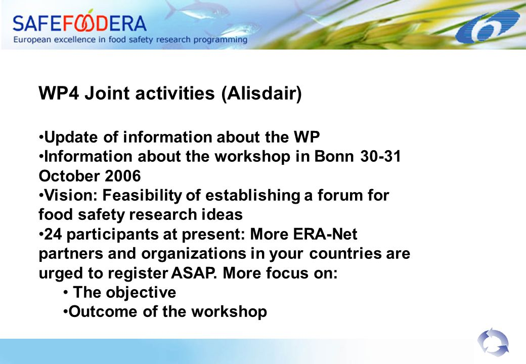WP4 Joint activities (Alisdair) Update of information about the WP Information about the workshop in Bonn October 2006 Vision: Feasibility of establishing a forum for food safety research ideas 24 participants at present: More ERA-Net partners and organizations in your countries are urged to register ASAP.