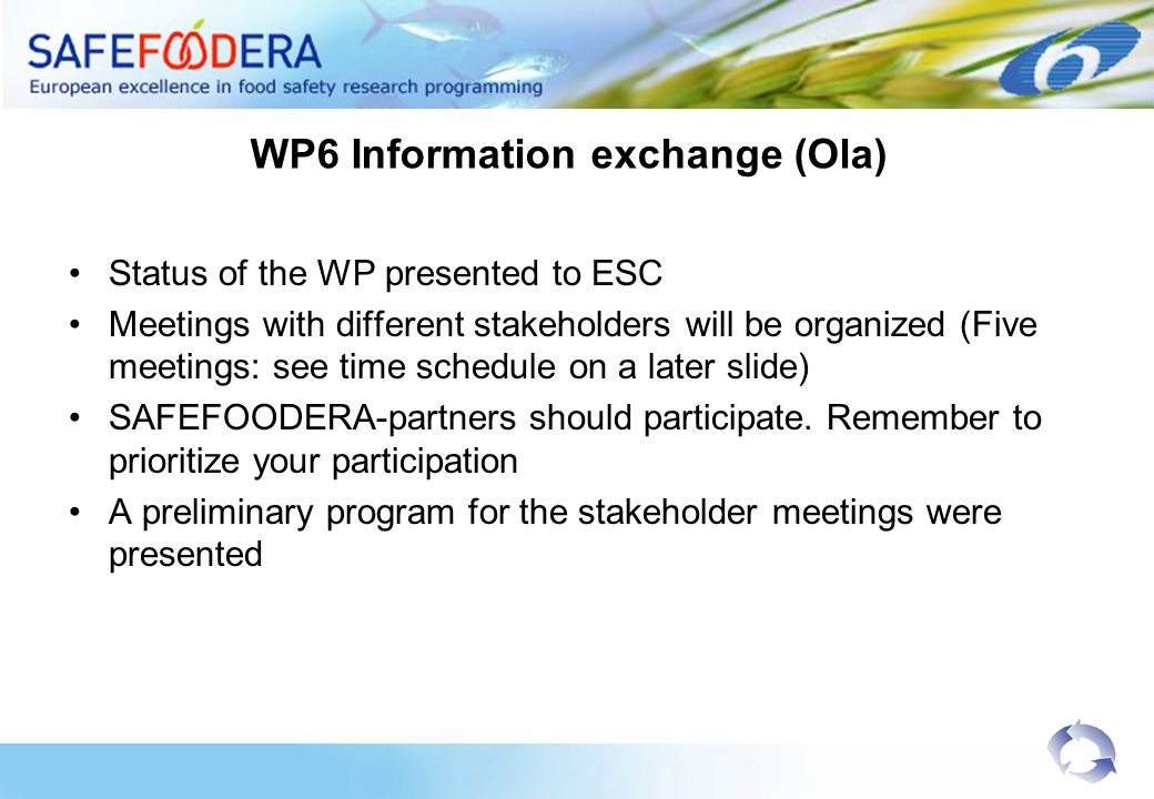 WP6 Information exchange (Ola) Status of the WP presented to ESC Meetings with different stakeholders will be organized (Five meetings: see time sched