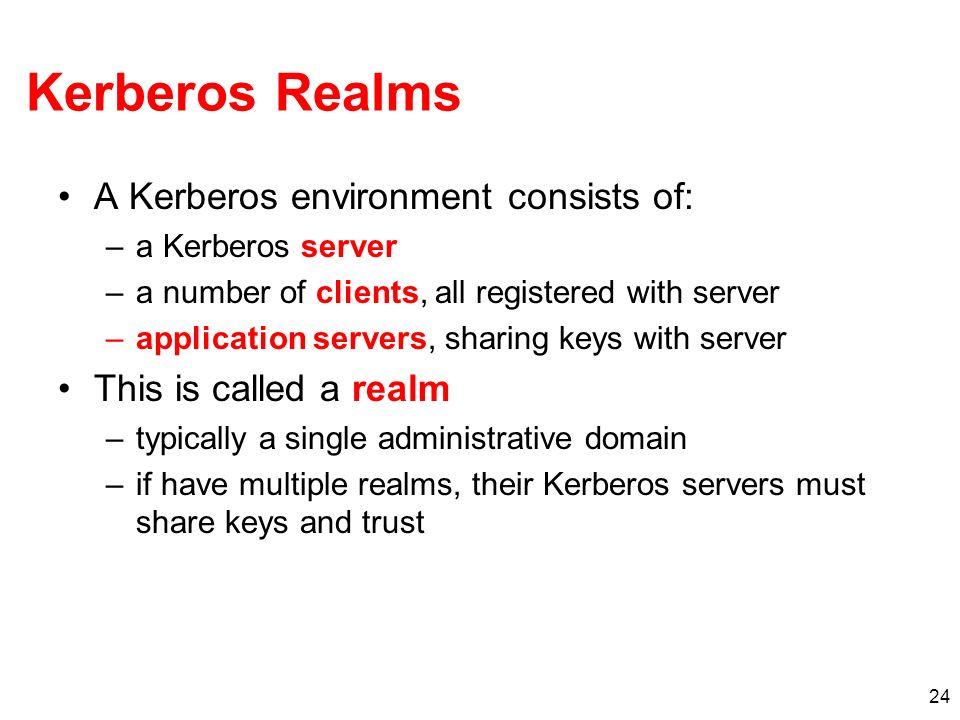 24 Kerberos Realms A Kerberos environment consists of: –a Kerberos server –a number of clients, all registered with server –application servers, shari