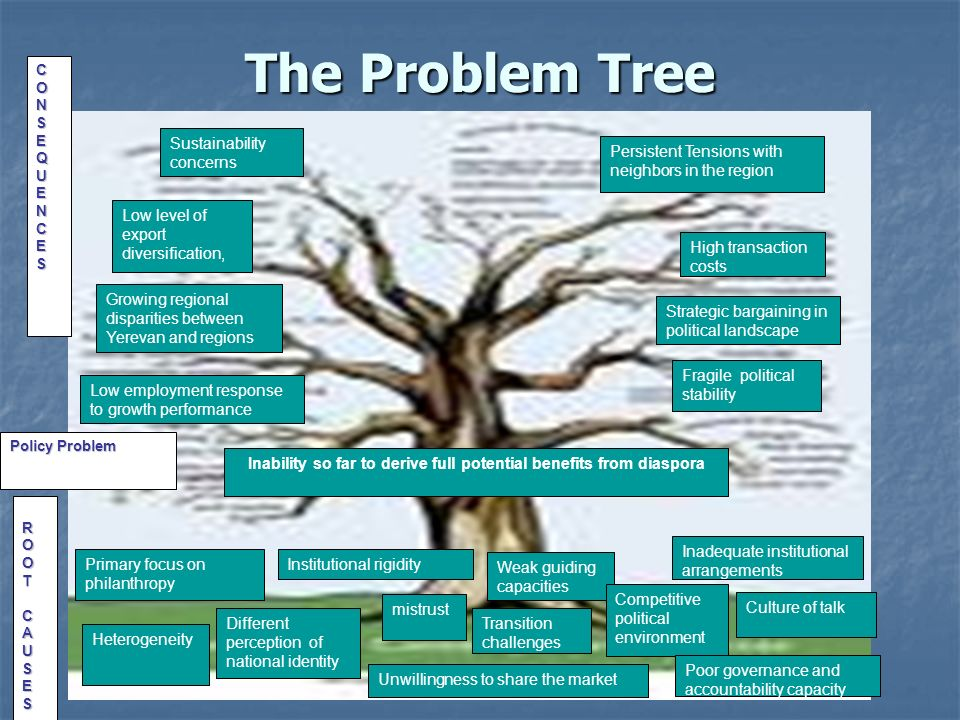 The Problem Tree Strategic bargaining in political landscape Low level of export diversification, Growing regional disparities between Yerevan and regions CONSEQUENCES Low employment response to growth performance Fragile political stability Persistent Tensions with neighbors in the region High transaction costs Sustainability concerns Inability so far to derive full potential benefits from diaspora Policy Problem ROOTCAUSES Primary focus on philanthropy Institutional rigidity Weak guiding capacities Inadequate institutional arrangements Different perception of national identity mistrust Competitive political environment Culture of talk Heterogeneity Unwillingness to share the market Poor governance and accountability capacity Transition challenges