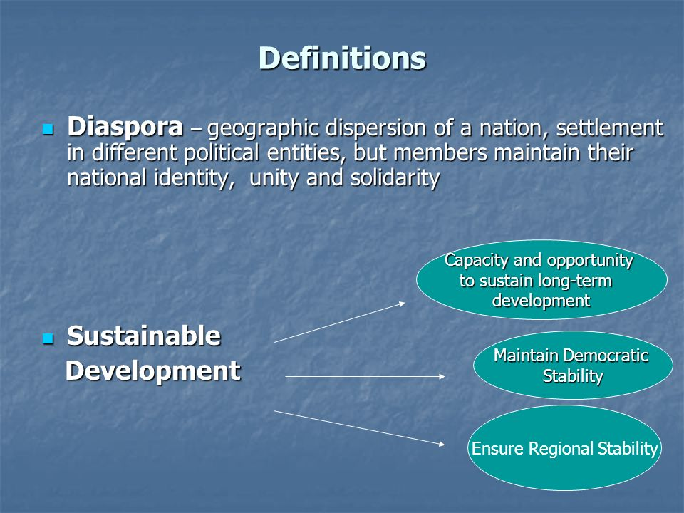 Definitions Diaspora – geographic dispersion of a nation, settlement in different political entities, but members maintain their national identity, unity and solidarity Diaspora – geographic dispersion of a nation, settlement in different political entities, but members maintain their national identity, unity and solidarity Sustainable Sustainable Development Development Capacity and opportunity to sustain long-term development Maintain Democratic Stability Ensure Regional Stability