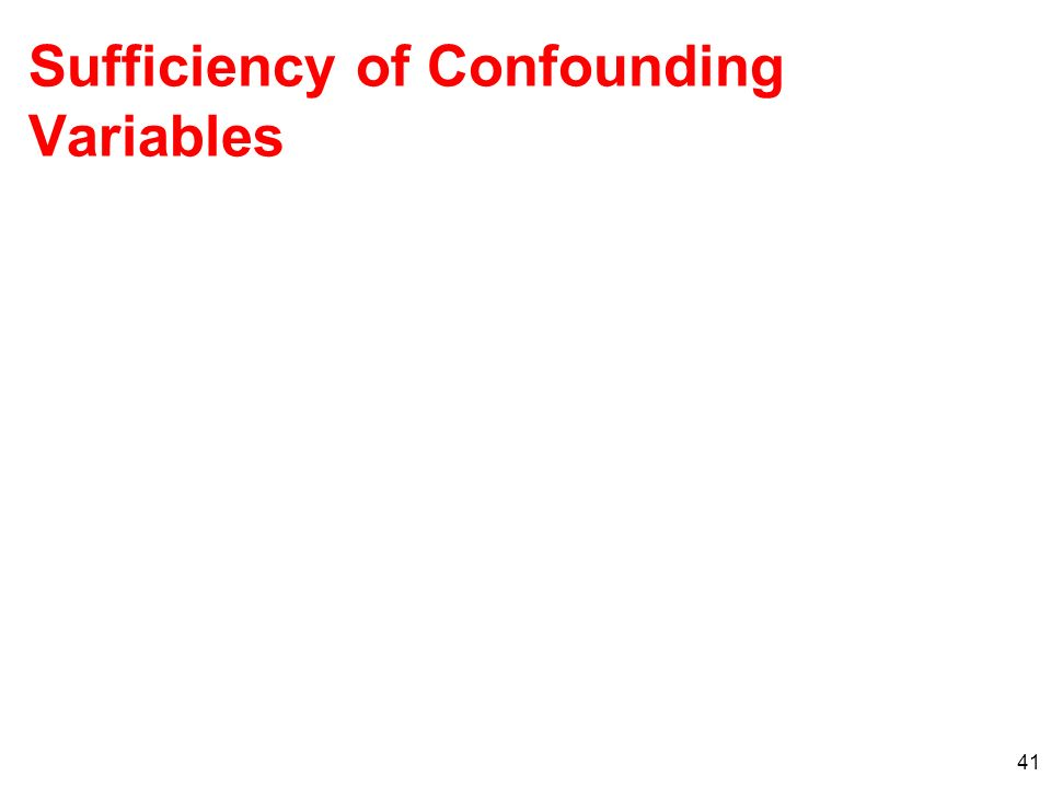 41 Sufficiency of Confounding Variables