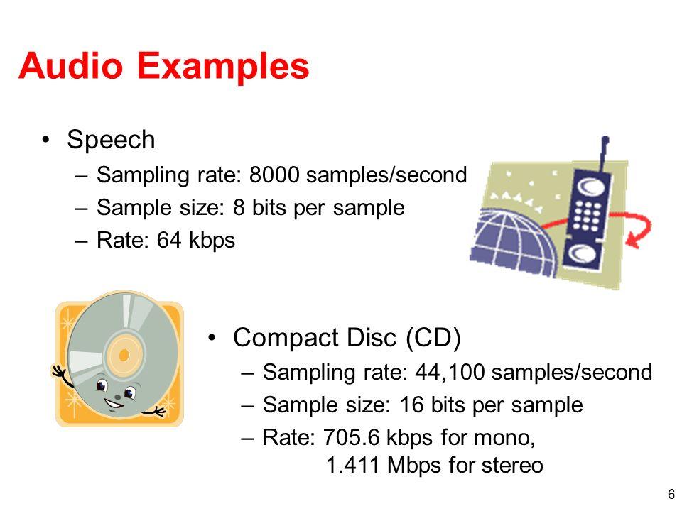 6 Audio Examples Speech –Sampling rate: 8000 samples/second –Sample size: 8 bits per sample –Rate: 64 kbps Compact Disc (CD) –Sampling rate: 44,100 sa