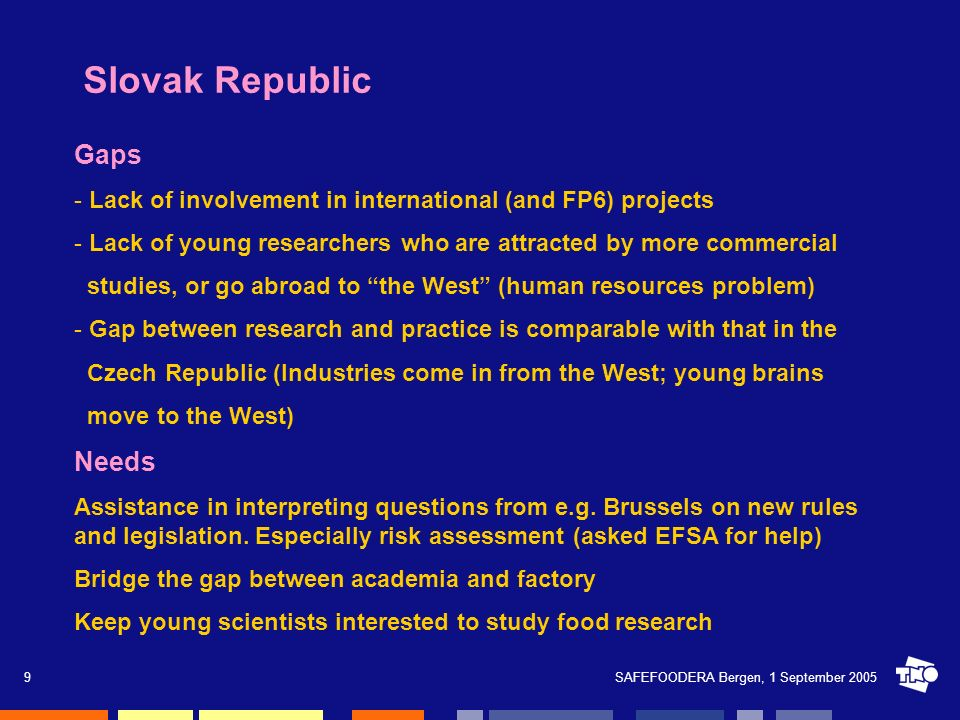 SAFEFOODERA Bergen, 1 September 20059 Slovak Republic Gaps - Lack of involvement in international (and FP6) projects - Lack of young researchers who a