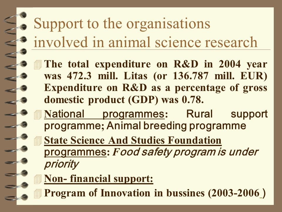 Support to the organisations involved in animal science research 4 The total expenditure on R&D in 2004 year was 472.3 mill.
