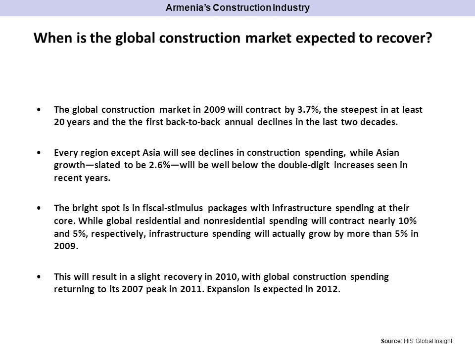 The global construction market in 2009 will contract by 3.7%, the steepest in at least 20 years and the the first back-to-back annual declines in the last two decades.