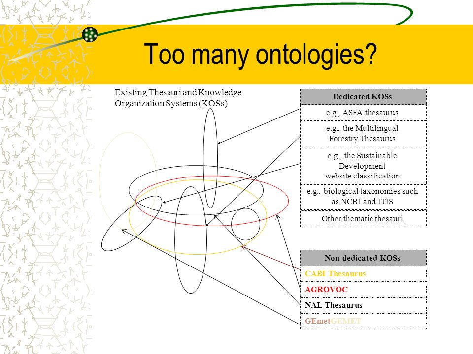 Too many ontologies.