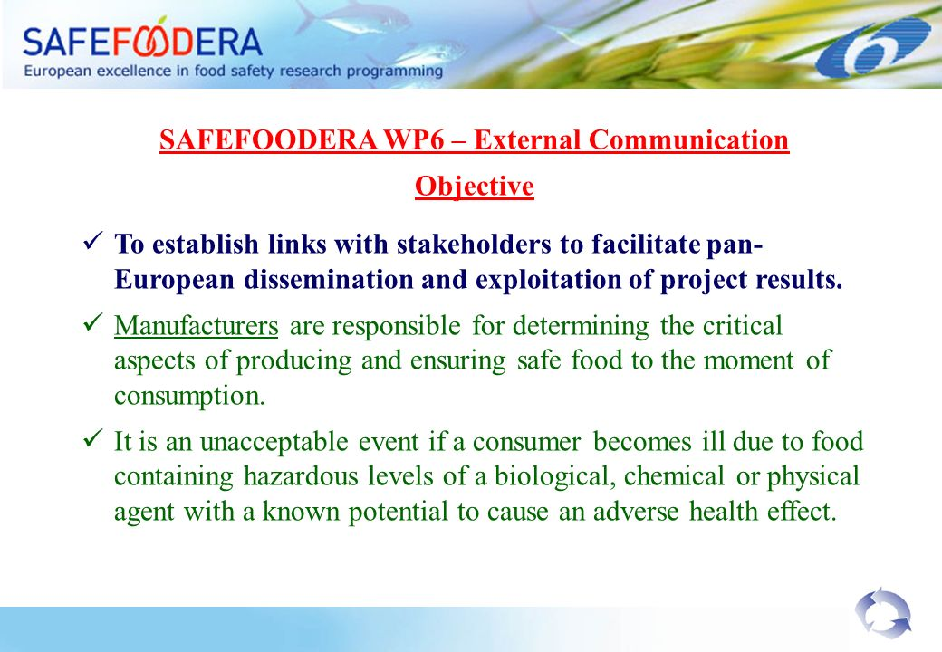 SAFEFOODERA WP6 – External Communication Objective To establish links with stakeholders to facilitate pan- European dissemination and exploitation of project results.