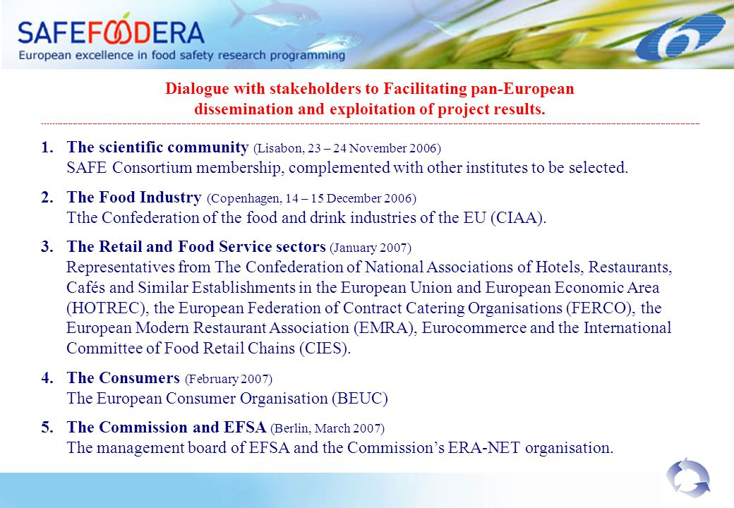 Dialogue with stakeholders to Facilitating pan-European dissemination and exploitation of project results.