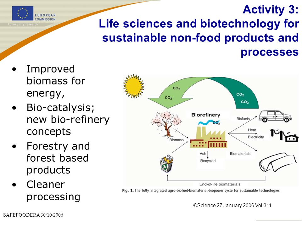 SAFEFOODERA 30/10/2006 Activity 3: Life sciences and biotechnology for sustainable non-food products and processes Improved biomass for energy, Bio-catalysis; new bio-refinery concepts Forestry and forest based products Cleaner processing ©Science 27 January 2006 Vol 311