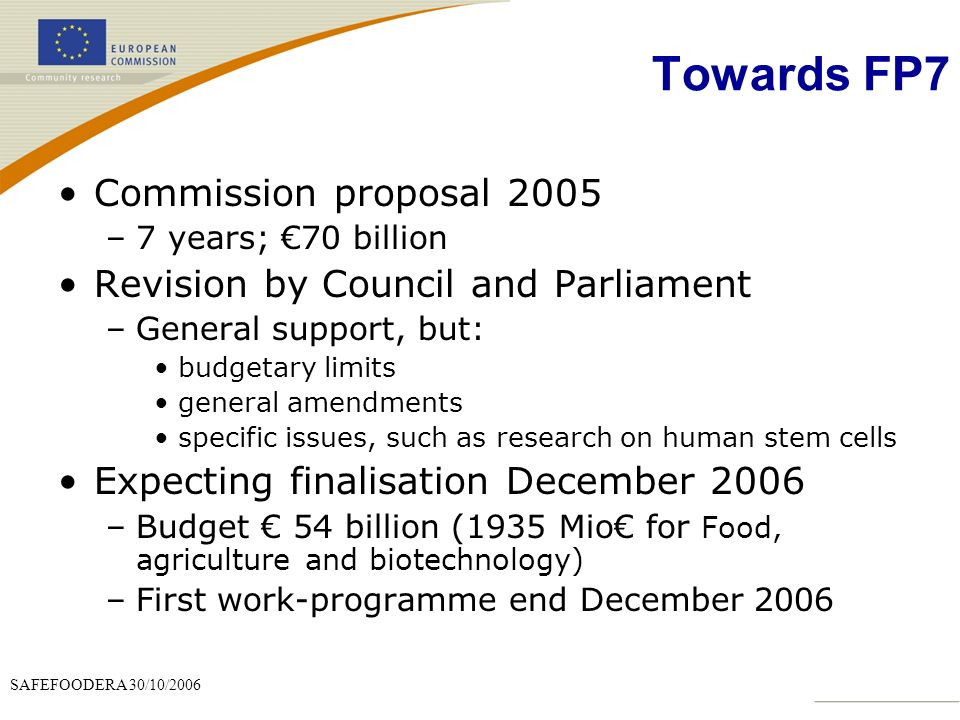 SAFEFOODERA 30/10/2006 Towards FP7 Commission proposal 2005 –7 years; 70 billion Revision by Council and Parliament –General support, but: budgetary limits general amendments specific issues, such as research on human stem cells Expecting finalisation December 2006 –Budget 54 billion (1935 Mio for Food, agriculture and biotechnology) –First work-programme end December 2006