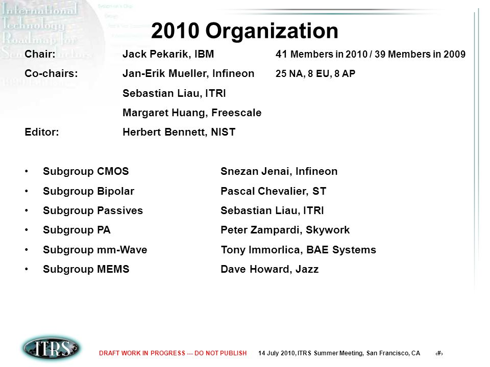 14 July 2010, ITRS Summer Meeting, San Francisco, CA 2DRAFT WORK IN PROGRESS --- DO NOT PUBLISH 2010 Organization Chair:Jack Pekarik, IBM 41 Members in 2010 / 39 Members in 2009 Co-chairs:Jan-Erik Mueller, Infineon 25 NA, 8 EU, 8 AP Sebastian Liau, ITRI Margaret Huang, Freescale Editor:Herbert Bennett, NIST Subgroup CMOSSnezan Jenai, Infineon Subgroup BipolarPascal Chevalier, ST Subgroup PassivesSebastian Liau, ITRI Subgroup PAPeter Zampardi, Skywork Subgroup mm-WaveTony Immorlica, BAE Systems Subgroup MEMSDave Howard, Jazz