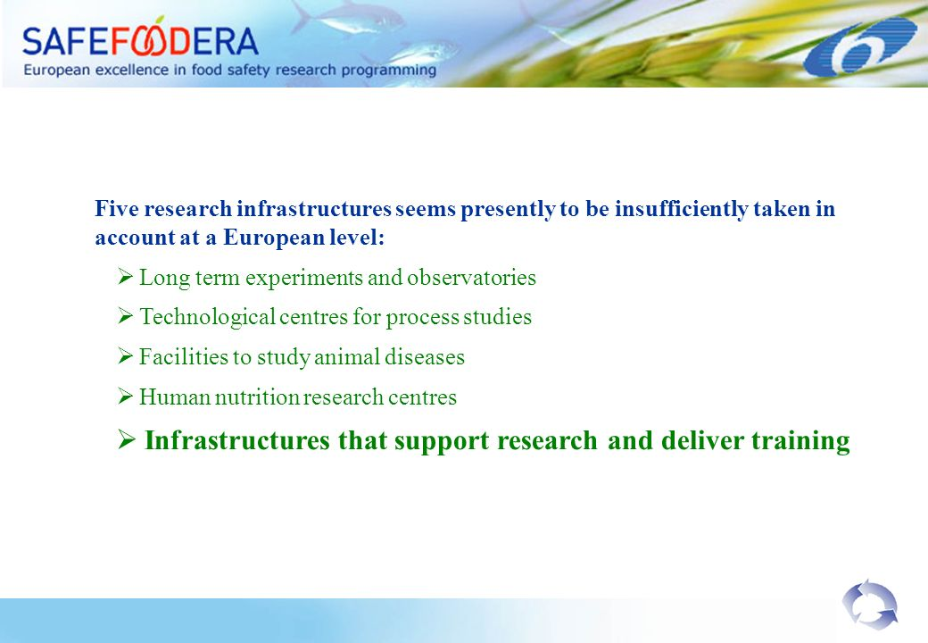 Five research infrastructures seems presently to be insufficiently taken in account at a European level: Long term experiments and observatories Techn