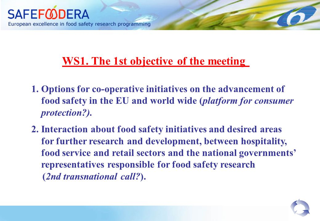 1. Options for co-operative initiatives on the advancement of food safety in the EU and world wide (platform for consumer protection?). 2. Interaction