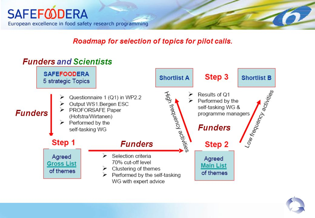 Funders and Scientists Funders Roadmap for selection of topics for pilot calls.