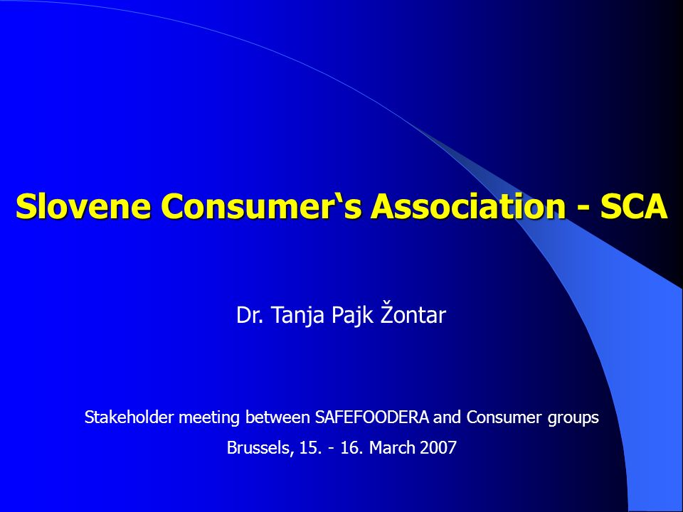Slovene Consumers Association - SCA Dr.