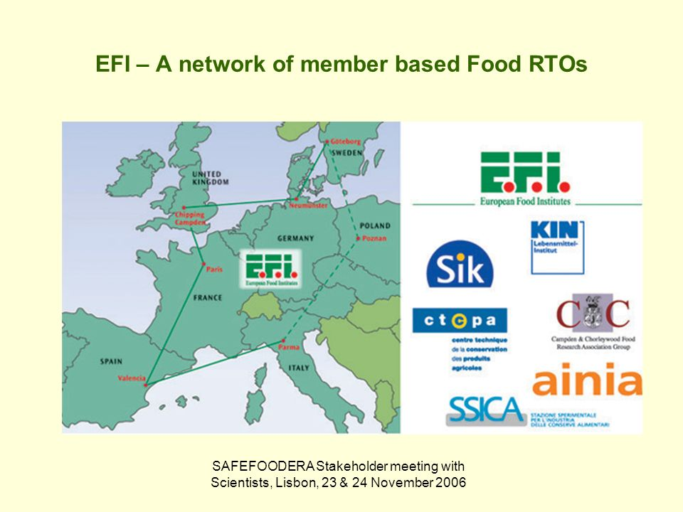 SAFEFOODERA Stakeholder meeting with Scientists, Lisbon, 23 & 24 November 2006 EFI – A network of member based Food RTOs