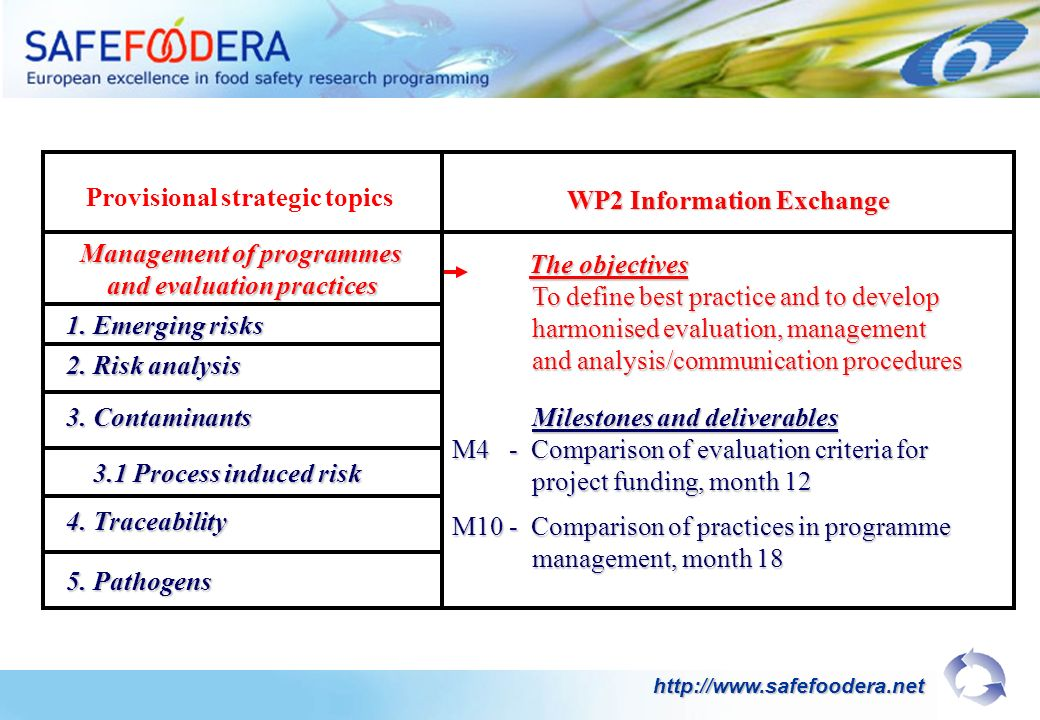 The objectives The objectives To define best practice and to develop To define best practice and to develop harmonised evaluation, management harmonised evaluation, management and analysis/communication procedures and analysis/communication procedures Milestones and deliverables Milestones and deliverables M4 - Comparison of evaluation criteria for project funding, month 12 project funding, month 12 M10 - Comparison of practices in programme management, month 18 management, month 18 WP2 Information Exchange Provisional strategic topics Management of programmes and evaluation practices   1.