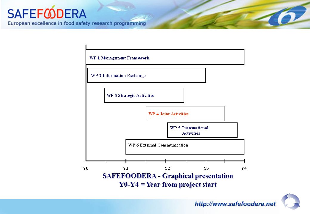 SAFEFOODERA - Graphical presentation Y0-Y4 = Year from project start