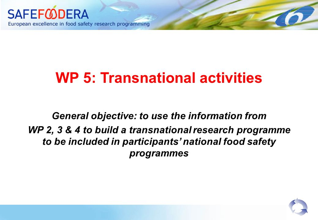 WP 5: Transnational activities General objective: to use the information from WP 2, 3 & 4 to build a transnational research programme to be included in participants national food safety programmes