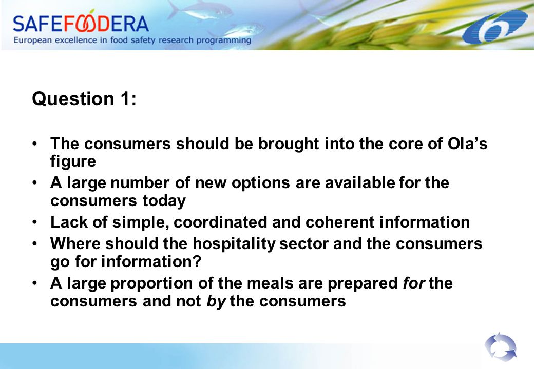 Question 1: Existing standards are not always suitable for the hospitality sector Lack of transportation standards; particular for long distance transportation Lack of training standards across Europe Different interpretation of existing regulations in Europe Implement existing information: No necessity to reinvent the wheel!