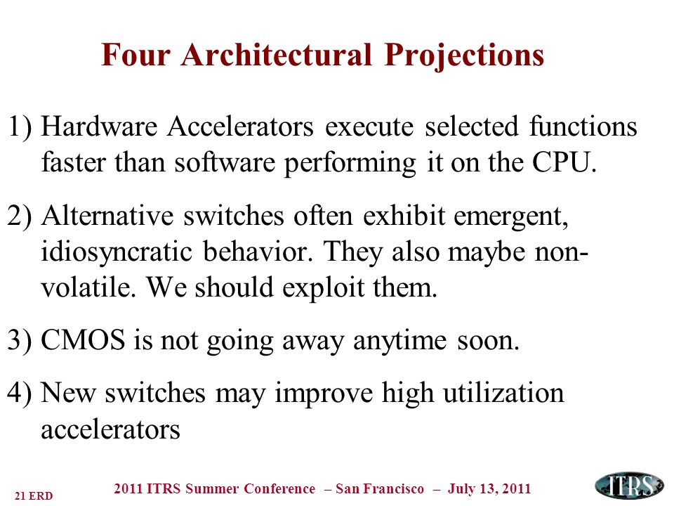 21 ERD 2011 ITRS Summer Conference – San Francisco – July 13, 2011 Four Architectural Projections 1)Hardware Accelerators execute selected functions faster than software performing it on the CPU.
