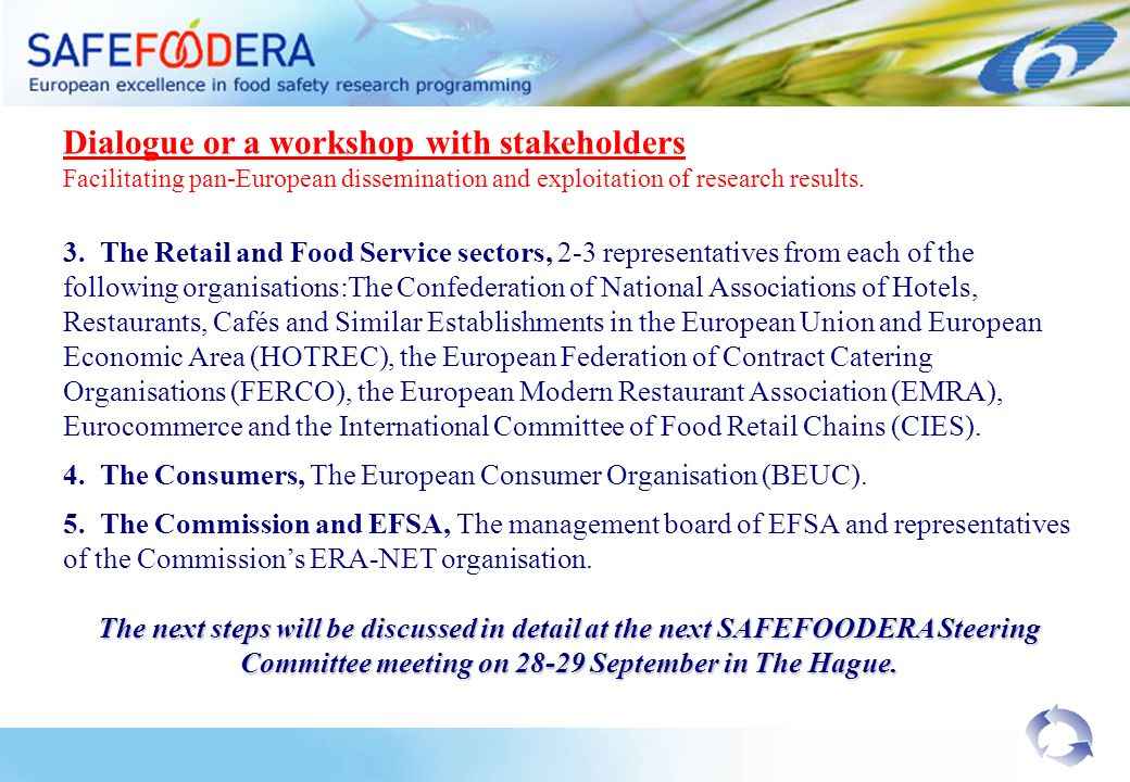Dialogue or a workshop with stakeholders Facilitating pan-European dissemination and exploitation of research results.